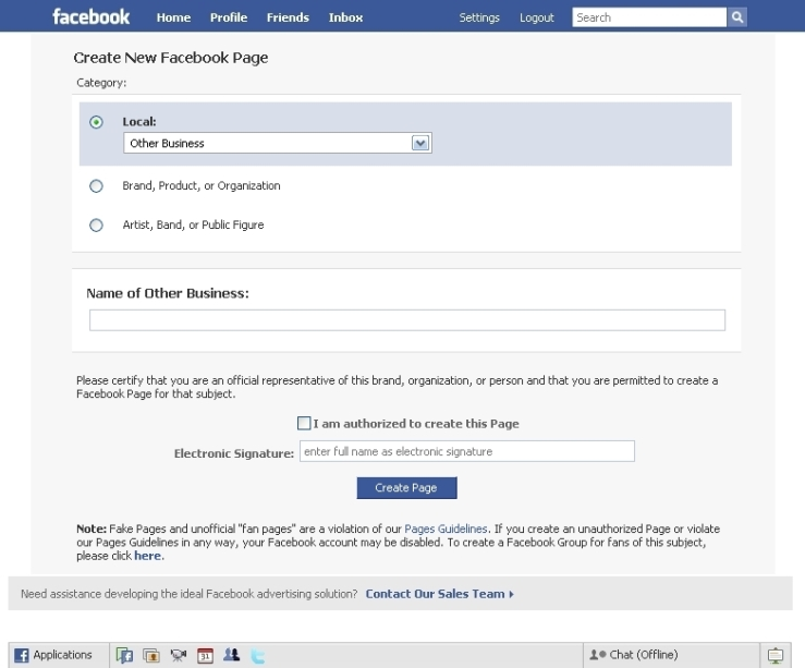 Creating a facebook fan page (Step 2)