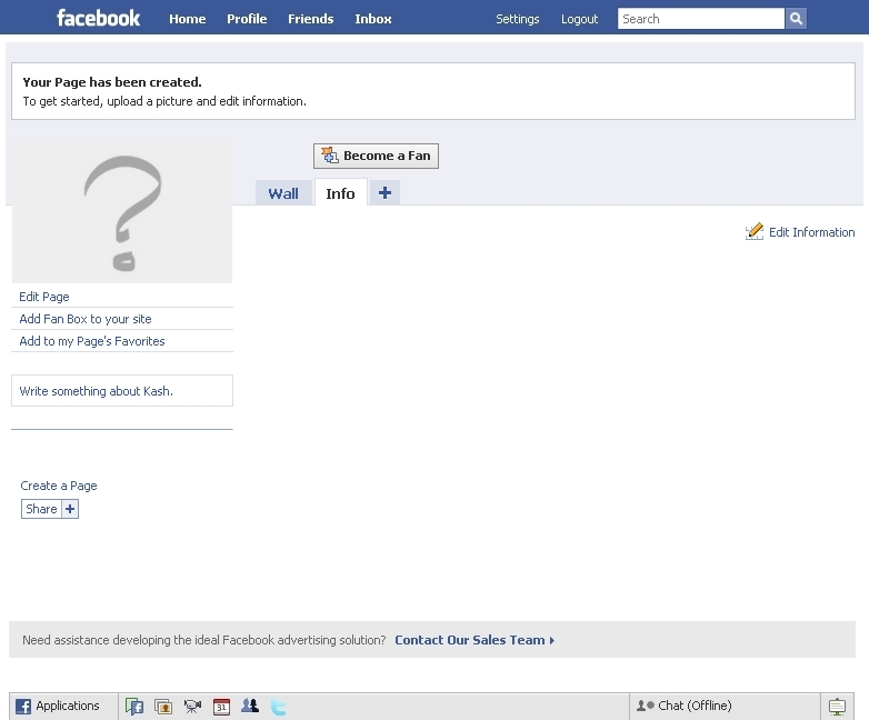 A blank facebook fan page