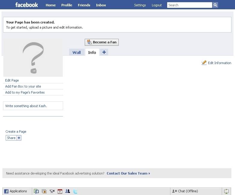 Blank Facebook Info Page A blank facebook fan page