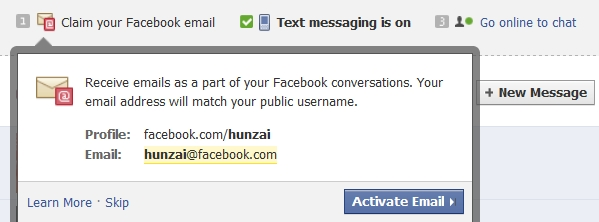 Facebook Email Address and New Inbox