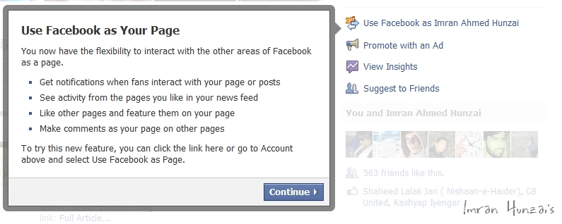 Use Facebook as Your Page