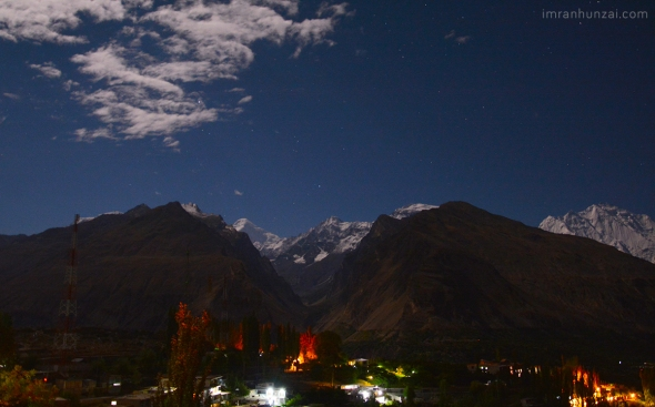 Karimabad Hunza on a full moon night.